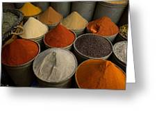 Spices For Sale In Souk, Fes, Morocco Greeting Card