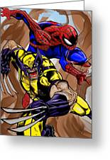 Spider And The Wolverine Greeting Card