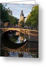 Spiegelgracht Canal In Amsterdam. Netherlands. Europe Greeting Card