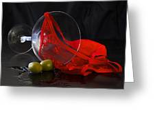 Spilled Martini With Red Panties Greeting Card