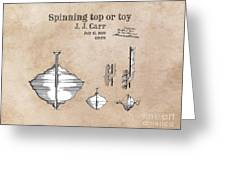 Spinning Top Or Toy Patent Art Greeting Card