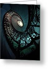 Spiral Ornamented Staircase In Blue And Green Tones Greeting Card