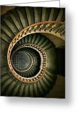 Spiral Staircase  In Green And Yellow Greeting Card