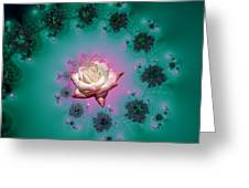 Spiral To A Rose Fractal 140 Greeting Card