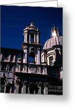 Spire And Cupola St Agnese In Agone Piazza Navona Rome Italy Greeting Card