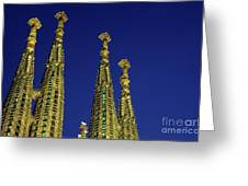 Spires Of The Sagrada Familia Cathedral At Dusk Greeting Card