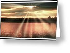 Spiritual Sunset Above A Mountain Lake Greeting Card