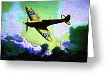 Spitfire In The Clouds H B Greeting Card