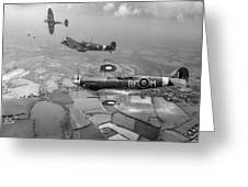 Spitfire Sweep Black And White Version Greeting Card
