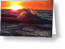 Splash - Sunset On Lake Huron Greeting Card
