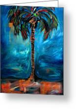 Splashy Palm Azure Greeting Card