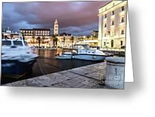 Split Harbor Night View In Croatia Greeting Card