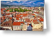 Split Old City Center Aerial View Greeting Card