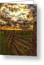 Split Rail Cedar Fence Sunset Greeting Card