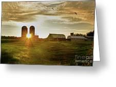 Split Silo Sunset Greeting Card