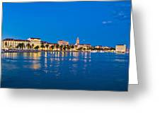 Split Waterfront Blue Hour View Greeting Card