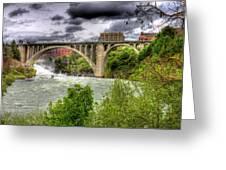 Spokane Falls And Monroe Bridge Greeting Card