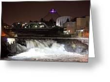 Spokane Falls Night Scene Greeting Card