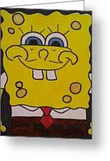 Sponge Square Yellow Brown Pants Cartoon Greeting Card