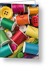 Spools Of Thread With Buttons Greeting Card by Garry Gay