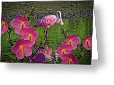 Spoonbill Through The Flowers Greeting Card