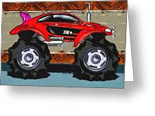 Sports Car Monster Truck Greeting Card