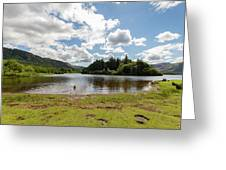 Spot The Swimming Dog In Derwnt Water Lake Greeting Card