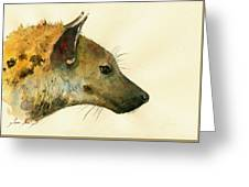 Spotted Hyena Animal Art Greeting Card