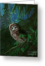 Spotted Owl In Ancient Forest Greeting Card