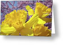 Spring Art Prints Yellow Daffodils Flowers Pink Blossoms Baslee Troutman Greeting Card