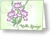 Spring Bouquet  With Three Irises.  Greeting Card