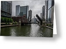 Spring Bridge Lift Scene In Chicago  Greeting Card