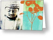 Spring Buddha Greeting Card by Linda Woods