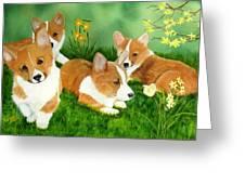 Spring Corgis Greeting Card by Debbie LaFrance