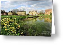 Spring Daffodils, Ramsey Village Pond, Cambridgeshire, England Greeting Card