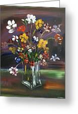 Spring Flowers In Vase Greeting Card