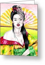 Spring Geisha Greeting Card
