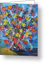 Spring Has Sprung- Abstract Floral Art- Still Life Greeting Card