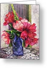 Spring In A Blue Bottle Greeting Card