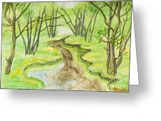Spring Landscape, Watercolours Greeting Card