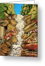 Spring Mountain Waterfall Greeting Card