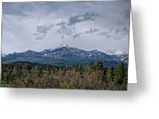 Spring Storm Behind Pagosa Peak Greeting Card by Jason Coward