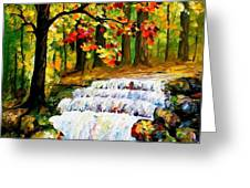 Spring Stream - Palette Knife Oil Painting On Canvas By Leonid Afremov Greeting Card