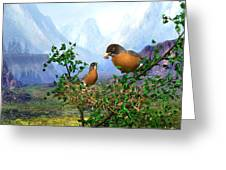 Spring Time Robins Greeting Card