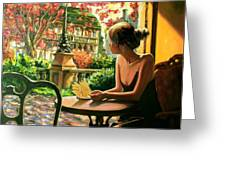 Spring, View From A Cafe Window In Paris Greeting Card