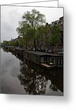 Springtime Amsterdam - Boathouses And Miniature Gardens Greeting Card