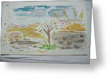 Spring.tree.sun. Water Color 1993 Greeting Card