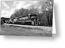 Sprintime Train In Black And White Greeting Card by Rick Morgan