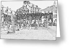 Square In Copenhagen At Nyhavn Greeting Card