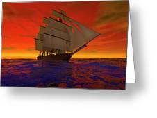 Square-rigged Ship At Sunset Greeting Card